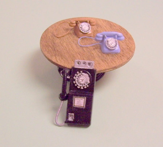 Rotary telephone in original tan color dollhouse miniature