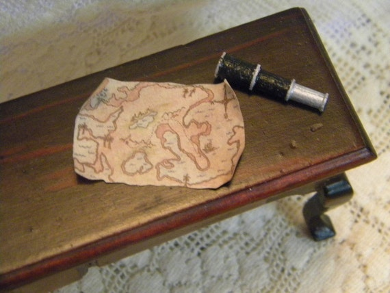 Spyglass and treasure map from original design dollhouse miniature