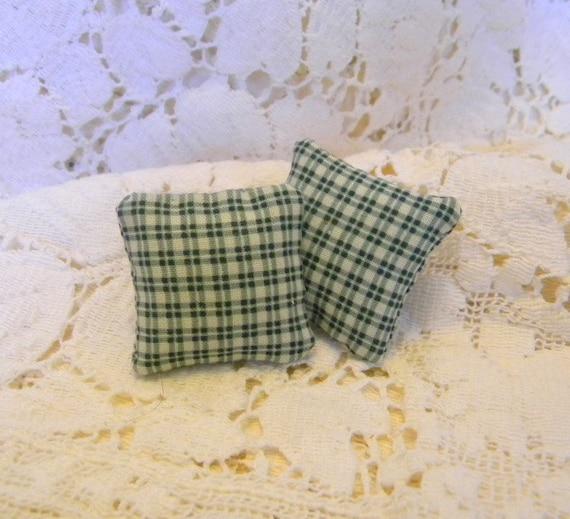 Hunter green pillows in plaid miniatures