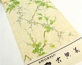 Kimono fabric green flower