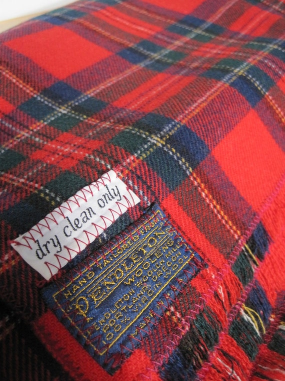 Vintage Pendleton Red Plaid Wool Blanket 60 X 72