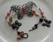 Butterfly Bracelet And Earring Set, Gunmetal And Red