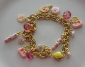 Girly Charm Bracelet, Pink And Gold