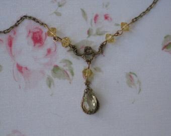 Lovely Vintage Necklace, Citrine Glass Lavaliere