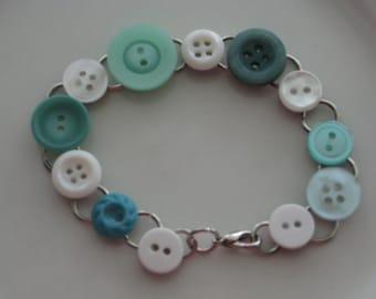 Vintage Button Bracelet, Green And White