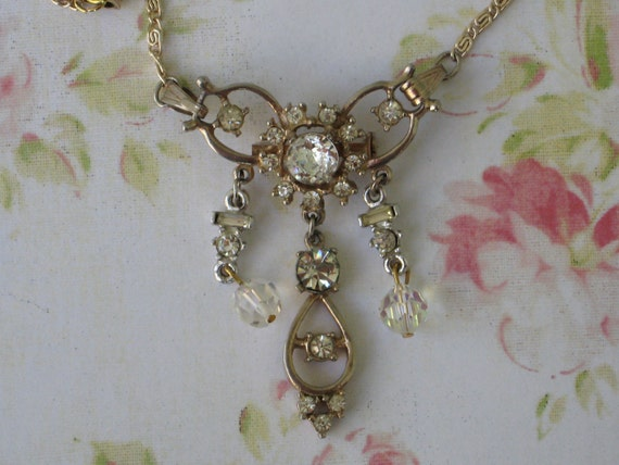 Vintage Necklace Brooch Combination, Lovely Rhinestones And Crystals