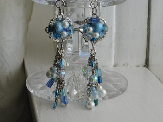 Blue Bubbles Earrings  Pearls