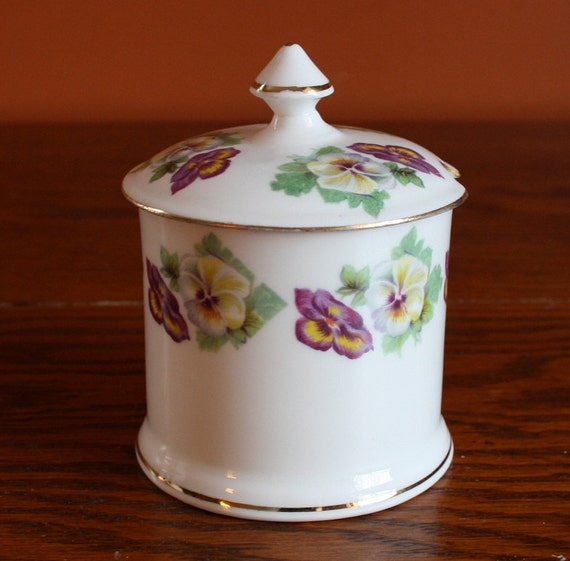 REDUCED Pansie Sugar Dish with Lid - Crown Staffordshire