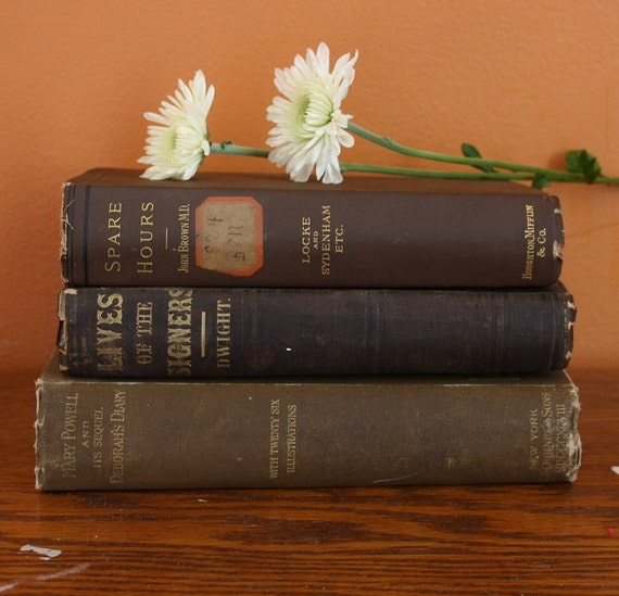 Vintage Book Stack - Browns - Set of 3 - Published 1851 - 1898