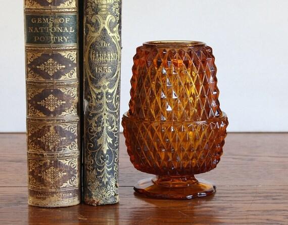 Vintage Diamond Point Amber Fairy Lamp