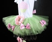 Birthday Tutu Set, Pink and Green, Cupcake, 12 months, 1st birthday, tutu, shoes, bow, and onesie