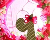 SALE Ribbon Wreath, Strawberry Shortcake Birthday Wreath, First Birthday, Pink and Green