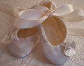 Satin Christening Shoes, Baptism Shoes, Ivory, Custom