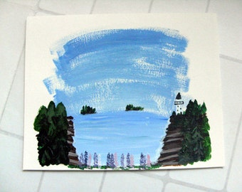 Handpainted Card - Maine lighthouse & lupine blank greeting card, nautical card, birthday card, thank you card, all occasion card