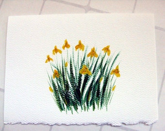 Yellow Iris Card - Handpainted flower card, birthday card, thank you card, all occasion card, yellow wedding card, miniature art