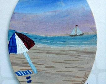 Miniature Painting - Beach art, sailboat painting, beach umbrella, miniature collectible art, original painting, coastal art, affordable art
