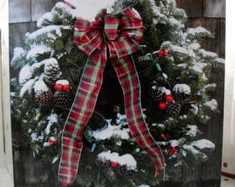 Wreath Christmas card - Season's Greetings card with plaid bow