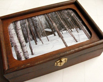Men's Valet Box & Jewelry Box - Log cabin decor, rustic decor, Maine winter, cabin in the woods, photo box, winter cabin, gift for groom