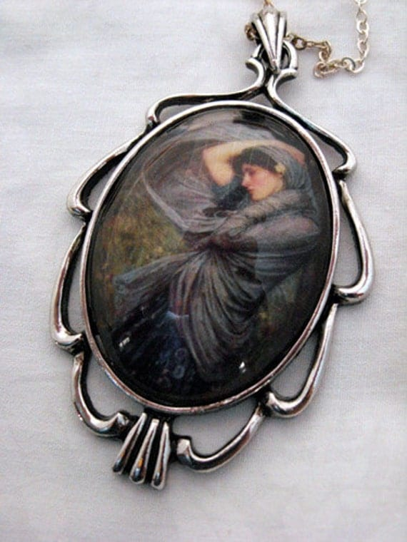 """Necklace - Cabochon pendant """"Boreas"""" by John Waterhouse, lady in blue with silver Art Deco setting"""