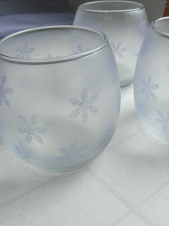 Frosted Glass Candle Holder - Purple snowflake Christmas tealight and votive glass candle holders - set of 3