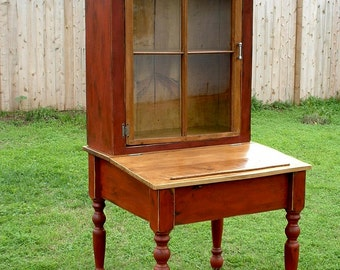 Old World Church Window Secretary Hutch - Handmade from Reclaimed Wood using a Reclaimed Church Window
