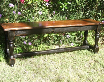 The Aberdeen Bench - Handmade Classic Trestle Style Bench Made with Reclaimed Wood