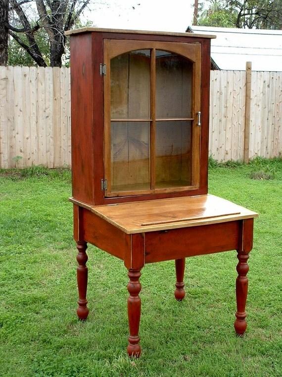Old World Church Window Secretary Hutch - Handmade from Reclaimed Wood using a Reclaimed Church Window