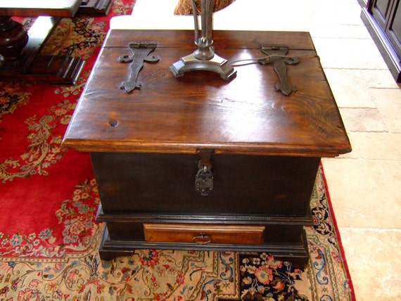 Ye Olde English Tea Chest - Side Table Storage Trunk Handmade with Reclaimed Wood by Arcadian Cottage