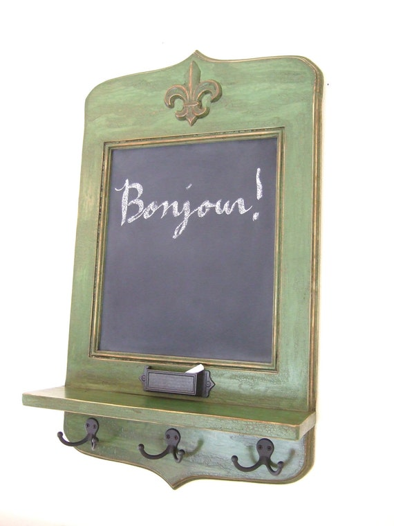 Le Grande Madame Message Center - green vintage style chalkboard with chalk holder, key hooks and shelf