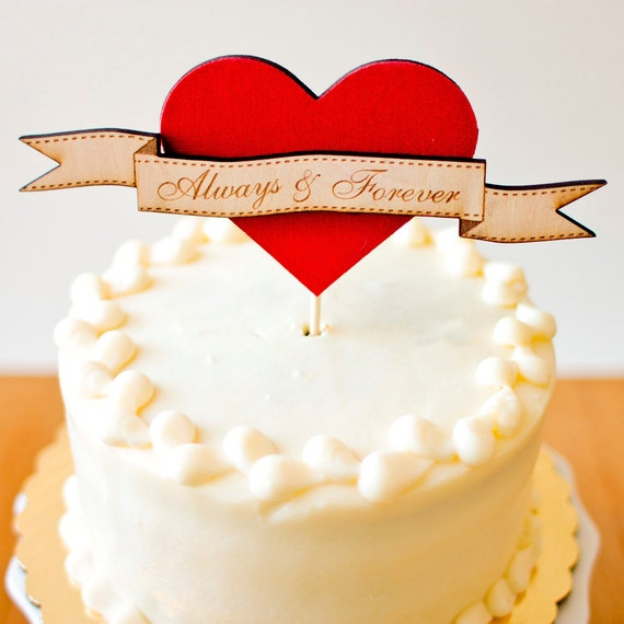The Woodland Heart Wedding Cake Topper with Custom Color - Ready to ship