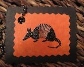 Black & Orange Armadillo Gift Tags - set of 8 - Texas - Embossed