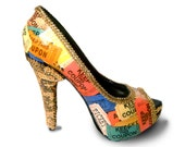 Carnival Ticket Gold Sequin Platform Peeptoe Pumps