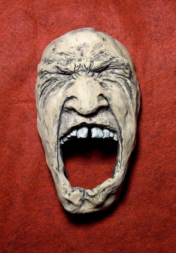 Ceramic Face Wall Sculpture