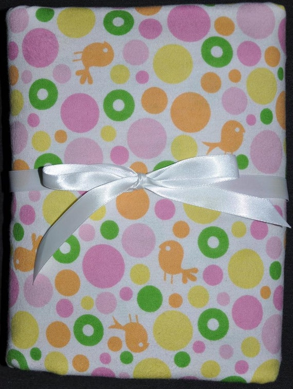 Extra Large Receiving/Swaddle Blanket -  Little Orange BIRDS 40 x 40 inches
