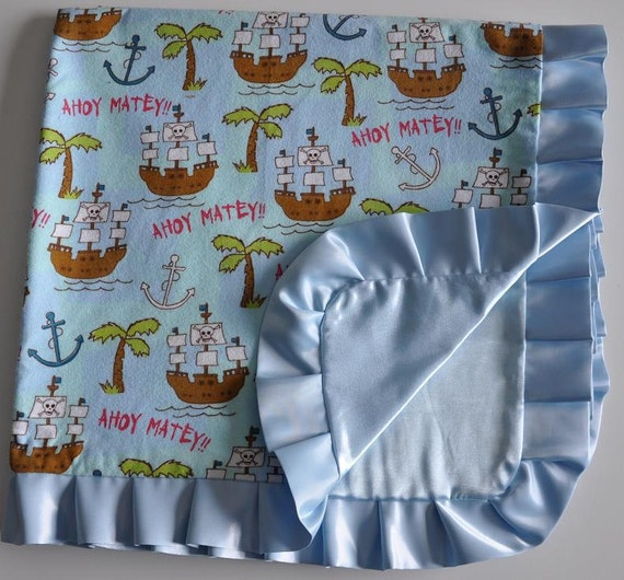 Ruffled Flannel Silky Blanket- PIRATE Theme 30 x 30 inches