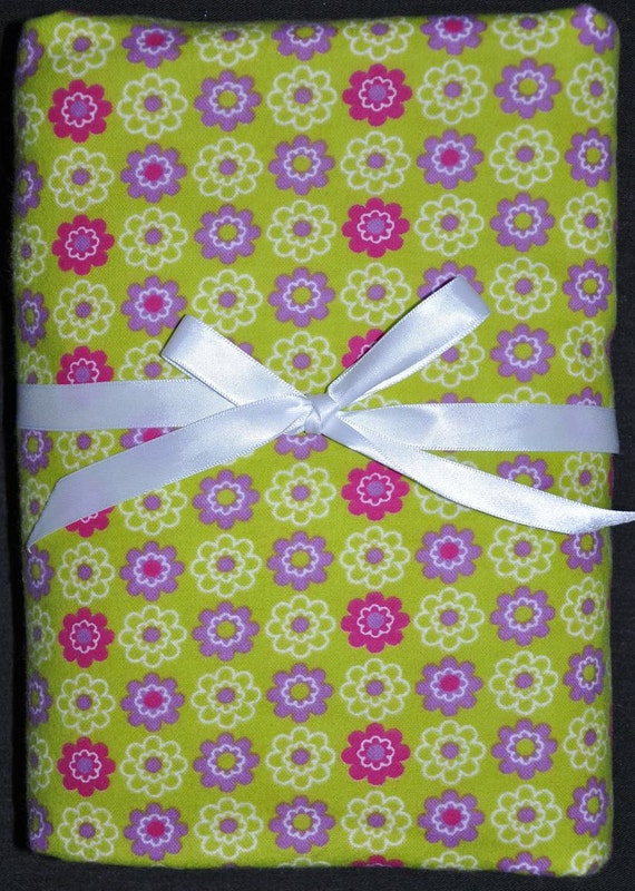 Extra Large Receiving/Swaddle Blanket- LIME & PURPLE FLOWERS 40 x 40 inches
