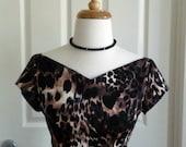 60's inspired animal print wiggle dress, size 12