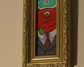 """Imps Are All Business - 4""""x8"""" Framed Acrylic on Card."""