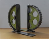 Pair of Lime-green Welded Metal Gear-half Bookends