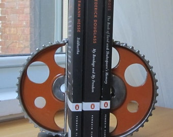 Pair of Orange Gear-half Bookends
