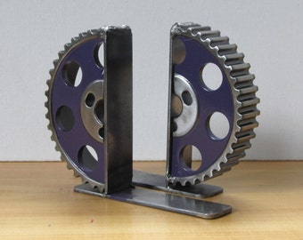 Pair of Purple Gear-half Bookends