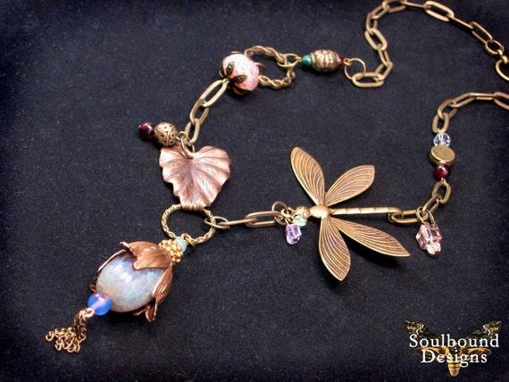 Gypsy trinkets Art Nouveau asymmetrical brass beaded dragonfly necklace