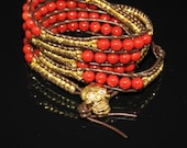 Red Brown Five Wrap Bracelet with Red Coral and Gold Nuggets