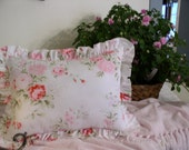Shabby Cottage Chic Throw Pillow  Handmade Toss,Decorative,Pink and White, from R. Ashwell Shabby Chic High End Fabric
