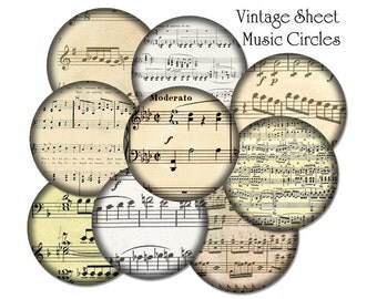 54 Music Note Bottlecap Images / 1-inch Circles / Vintage Classical Sheet Music Notes V2 / Printable Digital Collage / Instant Download