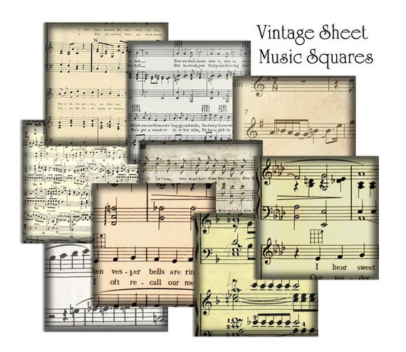 54 Classical Sheet Music Squares / Music Notes / Vintage Sepia Hues / 1-Inch Squares / Printable Digital Collage / Instant Download