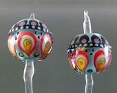 Pikalda :Handmade lampwork 2 beads pair earring dot line Colorful Temari SRA make to order