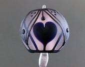 Pikalda : Handmade lampwork 1 glass single bead dot line 'Heart Shaped' SRA make to order