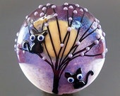 Pikalda : Handmade lampwork 1 glass bead focal 'Black Cat' SRA make to order