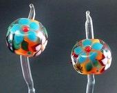 Pikalda :Handmade lampwork 2 beads pair earring blossom 'Orange & Red' SRA make to order